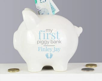 PERSONALISED Piggy Bank. Gift For BABY BOYS. White and Blue Money Box. New Born Baby Moneybox.  Gift For Newborn, Baby Shower, Christening