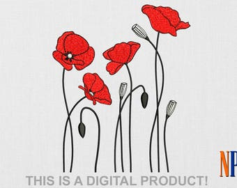 INSTANT DOWNLOAD - Poppy machine embroidery design. Flowers embroidery. Plants embroidery. Embroidery file
