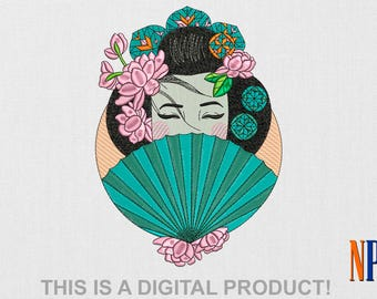 Japanese Girl machine embroidery design. Japanese art. Japanese woman. Geisha . Beautiful girl. Embroidery file