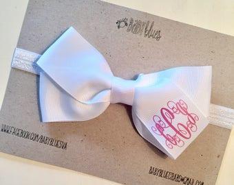 Monogrammed Hair Bow White Headband. White bow. Bow headband. Elastic bow headband. Bow clip. Personalized bow. Pink monogram. Baby girl.