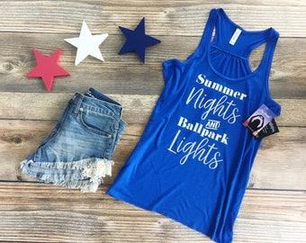 summer nights and ballpark lights©, baseball mom, baseball mom shirt, baseball shirt, baseball tank, ballpark lights, baseball, baseball tee