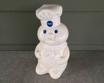 1988 MINT Pillsbury Doughboy cookie jar in original box Perfect condition ceramic jar and lid