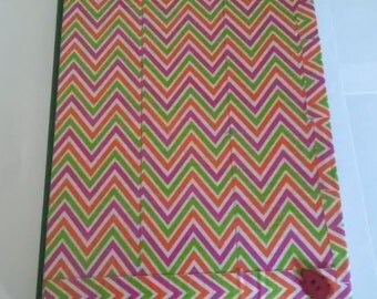 Chevron Patterned Journal With Elastic Band Pink Green Red
