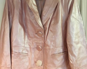 Vintage women's Terry Lewis classic luxuries designer pink color lined 3 button leather jacket size XL  chic, stylish, still with tags.