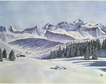 Aquarelle originale paysage de montagne aquarelle d'hiver panorama du Mont Blanc, montagne enneigée avec chalets