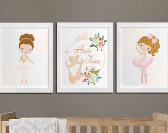 Ballerina nursery printable personalized wall art set, custom girl room princess room wall art, ballerina playroom wall decor Download