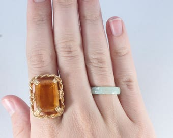 Sarah Coventry Amber Glass Gold Tone Ring Size 7