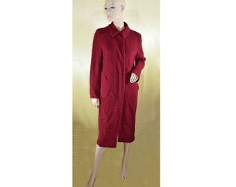 Vintage Maura Styled by Claudia Strater women long coat wool red burgundy