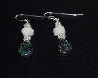 Black Matrix Opals~ Australian Opal Earrings~ Stalactite Druzy Earrings~ OOAK Earrings~ Sterling Silver Earrings