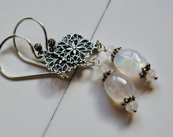Moonstone and Silver Lace Earrings~ Sterling Silver and Moonstone Jewelry~ Bridal Earrings~ Mother of the Bride