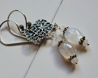 Moonstone and Silver Lace Earrings~ Sterling Silver and Moonstone Jewelry~ Mother's Day Gifts