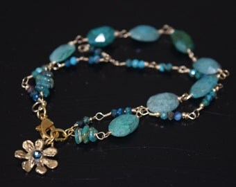 Chrysocolla Double Strand Bracelet and Earring Set~ Chrysocolla Jewelry Set~ Mother's Day Gift Ideas~