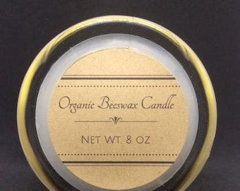 Organic Beeswax Candles/ 8 oz/ Beeswax Candle