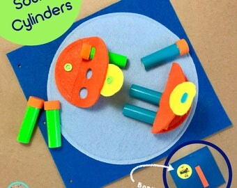 Sound Cylinders Page for TinyFeats Quiet Book - Montessori Activity - Educational Toy for Toddlers - Sensory Development