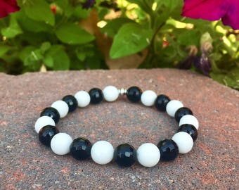 Faceted Black Onyx + White Jade || Healing Jewelry || Stackable Women's Beaded Bracelet ||