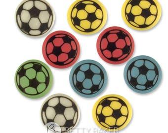Assorted Colour Football Soccer Sugar Decorations - Cupcake, Cake, Cookie Sugar Decorations Toppers. Edible Footballs. Pack of 45.