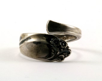 Vintage Women's Floral Design Spoon Ring 925 Sterling Silver RG 2438-E
