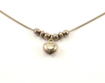 Vintage Heart Shape  Necklace 925 Sterling Silver NC 1050