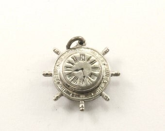 Vintage Clock Charm Sterling 925 CH 136