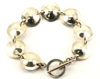 Vintage Round Finish Link Bracelet 925 Sterling BR 2410