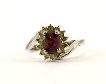 Vintage Amethyst Crystal CZ Ring 925 Sterling RG 3602