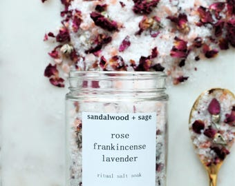 Rose + Frankincense + Lavender Ritual Salt Soak // 8 oz. // Ritual Bath Soak // Biblical oil bath salts // Botanical bath salt
