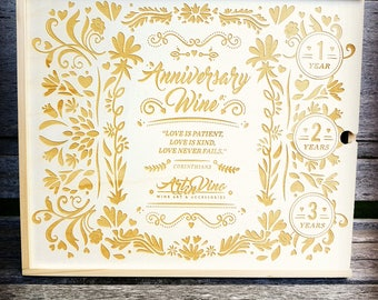 Anniversary Wine Box, Wedding Wine Box, Wedding Gift, Anniversary Gift, 3 Bottle Wine Box, Wedding Ceremony Wine Box, Engraved Wine Box
