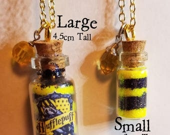 Hufflepuff Glitter Jar Long Necklace