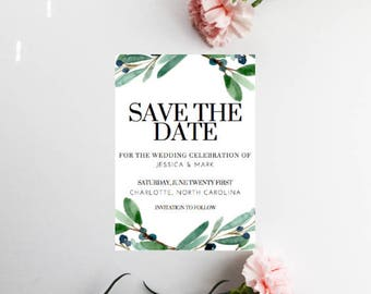 PRINTED Greenery Save The Date, Save Our date, Save The Date Invitations