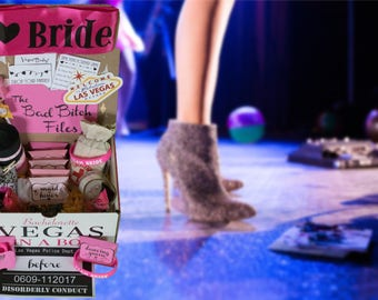 Vegas In A Box Bachelorette Box - Bachelorette Party - Maid of Honor - Bridesmaid Favors - Name Tags - Bachelorette Decorations