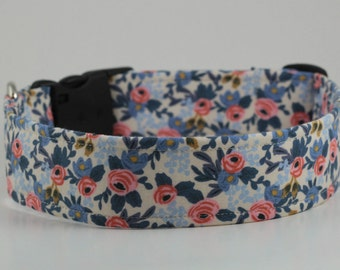 Rosa Floral in Periwinkle Dog Collar