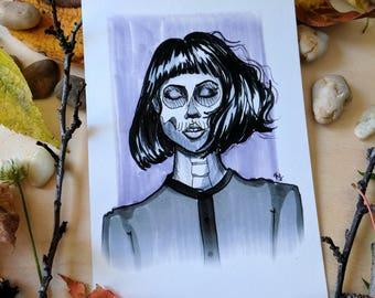 Skull Girl Inktober Print - 4x6