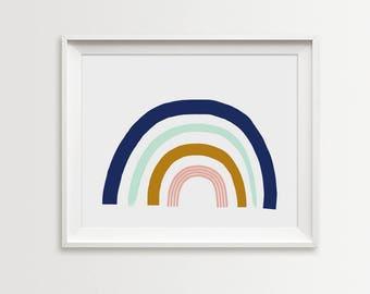Rainbow print, Rainbow wall art, nursery printable wall art, Scandinavian print, nursery decor, nursery art, kids poster