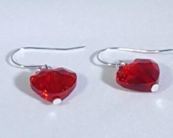 Swarovski 12mm Crystal Heart Earrings