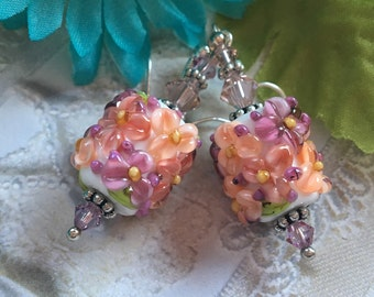 Peach Flower Lampwork Earrings/Peach and White Flowers, Floral Earrings, Lampwork Jewelry, Gift For Her