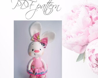 Crochet Bunny toy DOLLI, PDF pattern, DIY toys,  Amigurumi Bunny