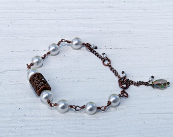 Swarovski Pearl Antique Copper Bracelet