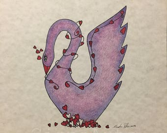 Valentines Love Swan By Cisnearts in Purple, Blue, and Red