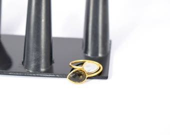 smokey ring . moonstone ring , white color ring , tiny gemstone ring , natural stone ring, double stone ring , gold plating ring ,