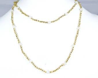 rainbow moonstone necklace,beaded necklace, gold pyrite Knotted Necklace,knotted necklace,gemstone bead necklace,gold color necklace,