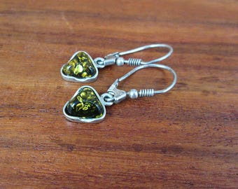 925 Sterling Silver Green Amber Earrings - Vintage