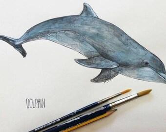 Delfin-ORIGINAL watercolor painting, unique, handmade dolphin film