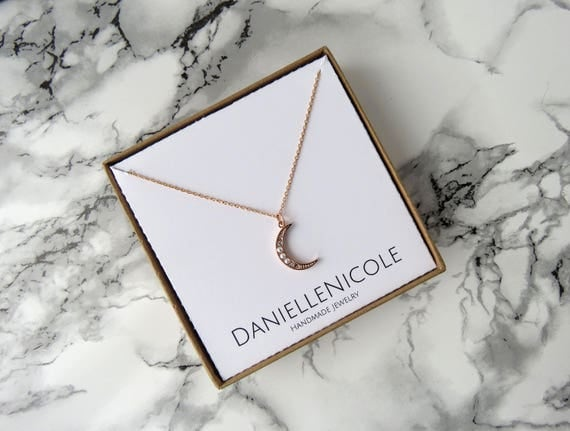 Rose Gold Crescent Moon Necklace, Rose Gold Necklace, Pendant Necklace, Pearl Necklace, Everyday Jewelry, Dainty Jewelry, Gifts for Her