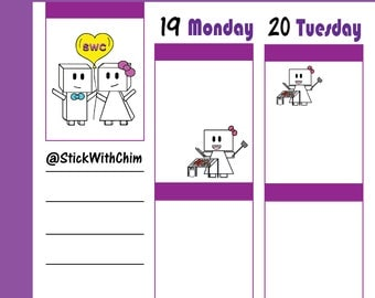 Bow Robot Girl BBQ Cookout Grill | Cute Planner Stickers | Perfect for planners and calendars | R262