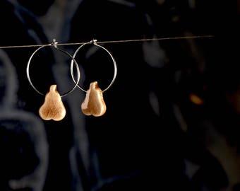 """Ceramic earrings """"pear"""" beige"""