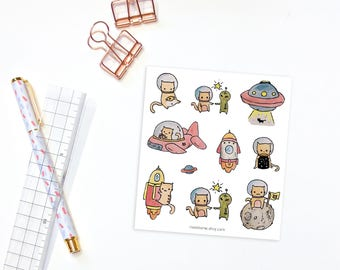 Space cat stickers - 10 decorative planner stickers, bullet journal stickers, cat stickers, decorative stickers, space stickers