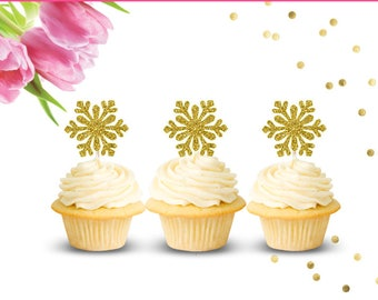 Snowflake Cupcake Toppers (set of 12), Baby Shower Cupcake Toppers, Frozen Cupcake Toppers, Winter Onederland, Frozen Birthday Party