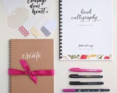 Brush Calligraphy Starter Kit - Includes brush pens and beginner's guide book with tutorials, practice pages, exemplars, & more!
