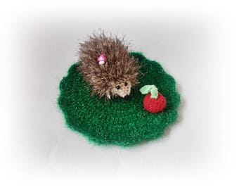 Crochet hedgehog in the meadow, hedgehog Plush, Gift for her for kids Stuff Crochet, Amigurumi Animal, home decor, crochet decoration