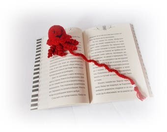 Crochet Bookmark octopus amigurumi Book Lover Gift Teacher Gift Red crochet octopus Book accessories